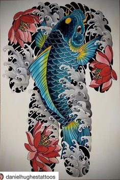 Koi Tattoo Sleeve, Carp Tattoo, Forearm Sleeve Tattoos, Japanese Koi Fish Tattoo, Japanese Dragon Tattoos, Koi Tattoo Design, Foo Dog Tattoo, Dragon Tattoo Arm, Black And Grey Tattoos