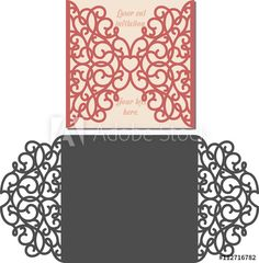 Illustration about Laser Cut Invitation Card. Laser cutting pattern for invitation wedding card. Cricut Wedding Invitations, Laser Cut Invitation, Invite, Kirigami, Cajas Silhouette Cameo, Laser Cut Patterns, Vinyl Paper, Pop Up Cards, Scrapbook Cards