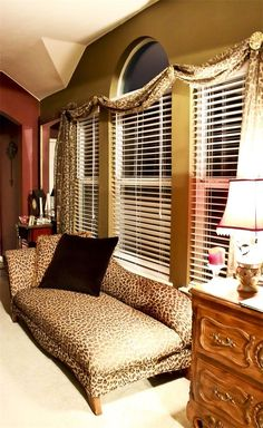 Leopard print chaise lounge AND window swag! Animal Print Furniture, Animal Print Decor, Animal Prints, Leopard Decor, Leopard Prints, Cheetah Print, Animal Room, Barbie Dream House, Living Styles