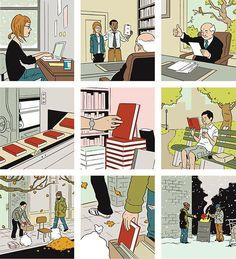 ¿El ciclo de vida de un libro? Ilustración de Adrian Tomine http://www.adrian-tomine.com/