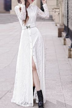 Lace Turn Down Collar Long Sleeve Maxi Dress WHITE: Maxi Dresses | ZAFUL