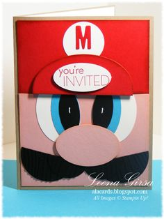 A La Cards  My Son's birthday party invitations.  Love Punch Art!