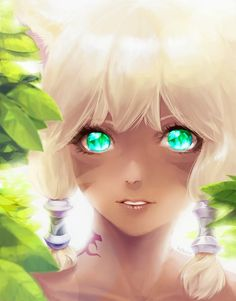 Anime picture 755x964 with  final fantasy final fantasy XIV miqo'te y'shtola 7h2o long hair single tall image looking at viewer blonde hair twintails green eyes fringe animal ears lips cat ears sunlight tattoo catgirl parted lips