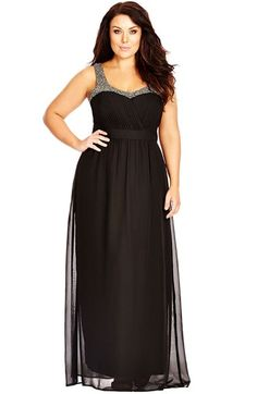 Free shipping and returns on City Chic Embellished Pleat Detail Chiffon Maxi Dress (Plus Size) at Nordstrom.com. A sweeping chiffon dress puts the focus on beautiful décolletagewith glittering beadworkat the neckline and straps. Soft pleating at the surplice bodice enhances the bust, and an inset waist nipsthe figure for a flattering and elegant style.