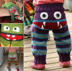 How to DIY Adorable Knitted Monster Pants | www.FabArtDIY.com