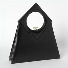 Original by Caprice black leather bag with circle in square handle