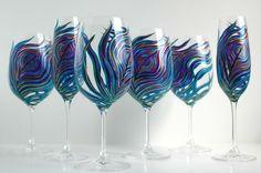 Peacock Wedding Glassware