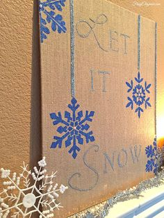 DIY Stenciled Winter Snowflake Holiday Decor - Christmas Stencils by Royal Design Studio - via FrugElegance