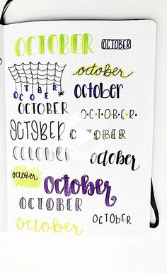 Use these super easy monthly bullet journal headers for every month of the year! Find inspiration for your next monthly spread with pretty monthly headers. #bulletjournalideas Bullet Journal October, Bullet Journal Headers, Bullet Journal Lettering Ideas, Journal Fonts, Bullet Journal Notebook, Bullet Journal Ideas Pages, Book Journal, Journals, Letras Cool