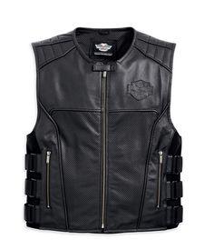 harley-davidson-men-s-swat-ii-leather-vest---98066-13vm (HAWKEYE) Biker Wear, Leather Vest, Leather Jackets, Motorcycle Outfit, Motorcycle Jacket, Black Vest, Biker Style, Gq, Vest Coat