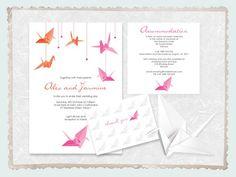 paper crane invitation - printable file - origami wedding invite