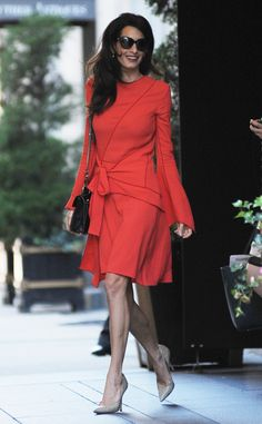 Amal Clooney from The Big Picture: Today's Hot Pics  Lady in red! The human rights lawyer stuns in the bright shade on the streets of New York City.