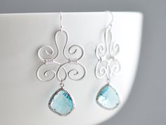 Oriental aquamarine blue silver earrings - bridal, gift, anniversary gift, birthday gift.. $28.00, via Etsy.
