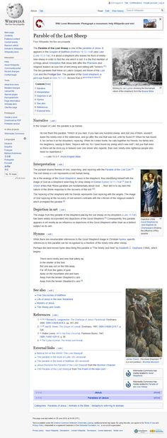 Screenshot: Parable of the Lost Sheep - Wikipedia The Lost Sheep, Jesus Christ, Mustard, Blessed, Father, Pai, Mustard Plant, Dads