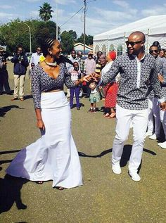 african bride and groom in shweshwe attire also known as leteitse or german cotton African Dresses For Women, African Print Dresses, African Print Fashion, African Attire, African Wear, African Fashion Dresses, African Women, African Traditional Wedding, Traditional Outfits