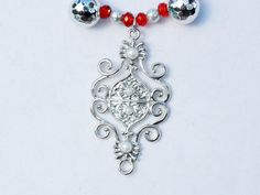 Red crystal jewelry set pearl jewelry silver jewelry by ElmsRealm