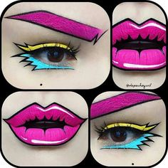 DIY Halloween // Halloweenbilder: Halloween-Pop-Art-Make-up. DIY Halloween // Halloweenbilder: Halloween-Pop-Art-Make-up. Pop Art Makeup, Sfx Makeup, Crazy Makeup, Lip Art, Costume Makeup, Pop Art Costume, Eyeliner Makeup, Black Makeup, Jem Costume