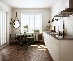 Elsker gulvet! Minikjøkken i enkelt og rent design