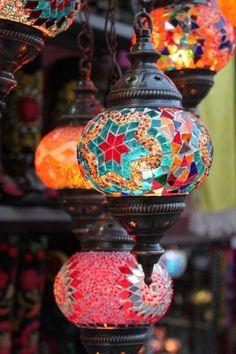 Traditional mosaic Turkish lanterns