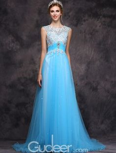 long pool blue illusion sleeveless floral lace applique sheer tulle prom dress