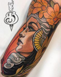 Traditional Tattoo Portrait, Neo Traditional Tattoo, Full Back Tattoos, Back Tattoo Women, Sketch Tattoo Design, Tattoo Designs, Arm Tattoos Color, Dope Tattoos, Tatoos