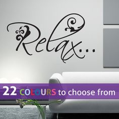 RELAX quote floral swirls wall sticker art decal by LinaGifts