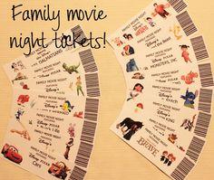disney movie night  | Free printable Disney family movie night tickets. Have kids pick from ...
