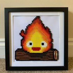 May all your bacon burn! Calcifer from Howl's Moving Castle Perler Bead Designs, Hama Beads Design, Pearler Bead Patterns, Perler Patterns, Hama Beads Mario, Diy Perler Beads, Perler Bead Art, Pearler Beads, Castle Crafts
