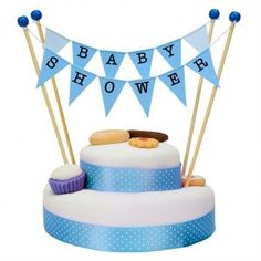 Baby Shower Cake Topper – Made in Britain. Shop at Amazon Cake Bunting, Colorful Cakes, Baby Shower Cakes, Cake Toppers, Britain, Cake Decorating, Pastel, Shapes, Amazon