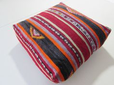 kilim floor pillow wool pouf ottoman knit by DECOLICKILIMPILLOWS