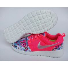 Custom Nike Roshe Pink Run Sneakers Athletic Women Shoes With Fabric... ($92) ❤ liked on Polyvore featuring shoes, athletic shoes, grey, women's shoes, athletic footwear, running shoes, flower pattern shoes, floral shoes and pink running shoes