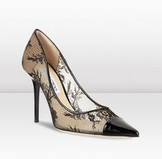 Jimmy Choo | Amika | Black Lace Pointed Toe Pumps | JIMMYCHOO.COM