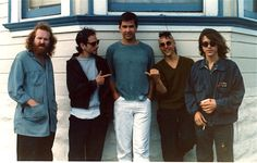 """The 1/2Fast Five - also known as the executive board of Ox Cassettes. L to R: Junglebook, Dave Brian, Johnny Loud, Rich Ferguson, Jim.  This picture also known as """"The Urban Haircut Review"""". San Francisco, 1986"""