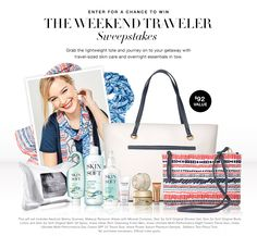 The Weekend Traveler Sweepstakes | Avon - Grab the lightweight tote & journey on to your getaway with travel-sized skin care / overnight essentials in tow.  No purchase Necessary. Rules Apply. Set includes scarves, makeup remover wipes, SSS Original Shower Gel, SSS Orig Bath Spray, SSS Orig Body Lotion, Anew mini cleansing foam, Anew sample power serum, 2 piece tote. Enter now ! Lmtd time.