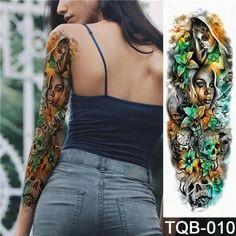 Tattoo & Body Art Knowledgeable Large Arm Sleeve Tattoo Owl Hands Clock Waterproof Temporary Tattoo Sticker Angel Cloud Ladder Men Full Red Tattoo Body Art A Great Variety Of Goods