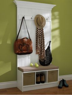 An organized home creates a relaxing space to nest. Bring order to busy entranceways by teaming up a RTA (ready-to-assemble) bench with a DIY (do it yourself) wall-mounted coat rack. Beauti-Tone paint kids home decor - DIY