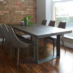 Incredible Modena Modern Wood Metal Dining Table With Regard To Grey Dining  Table