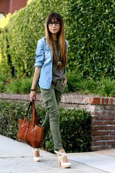 chambray shirt + skinny cargos + heels