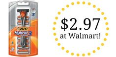 Head over to Walmart and get the Bic Hybrid Comfort 3 Razor and Refill Blades for only $2.97 after printable coupon. See more at BecomeACouponQueen.com.