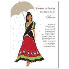 Indian Bridal Shower Invitations - Catwalk Umbrella Diva