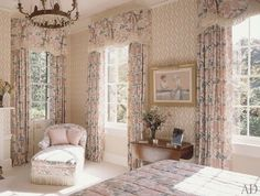 Wheat Flower Faded on Oyster drapery and upholstery. What a soft and lovely room from @archdigest #bennison #bennisonfabricsandwallpaper #bennisonfabrics #wheatflower