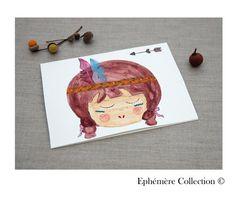 Carte petite indienne carte peint main par EphemereCollection
