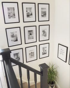 Aug 2019 - Small Photo gallery wall display ideas - DIY gallery wall tutorial how to create a gallery wall in your home using photo frames and photos in a structured gallery style. Free printable template to create your own gallery wall in your home. Gallery Wall Staircase, Staircase Wall Decor, Gallery Wall Frames, Stair Walls, Staircase Frames, Picture Wall Staircase, Staircase Pictures, Stairs, Stair Risers