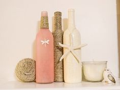 Pink seaglass twine wine bottle with by TwinenWineCreations
