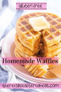 Ridiculously easy, crispy-on-the-edges and soft-and-fluffy in the middle, just as a gluten free waffle should be! These waffles freeze well, keep some on hand for quick breakfasts. Gluten Free Crepes, Best Gluten Free Desserts, Gluten Free Recipes For Breakfast, Wheat Free Recipes, Gluten Free Flour, Gf Recipes, Fall Recipes, Bread Recipes, Delicious Desserts