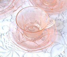 Lovely vintage Royal Lace pink glass cup by NancysVintageChina