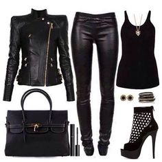Want s sleek look? An all black outfit head to toe does it.