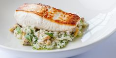 Halibut with Risotto Recipe - Great British Chefs - Dominic Chapman's sublime seafood recipe features a cockle infused risotto and perfectly cooked halibut fillet. Halibut Recipes, Fish Recipes, Seafood Recipes, Cooking Recipes, Healthy Recipes, Recipies, Seafood Dinner, Fish And Seafood, Seafood Risotto