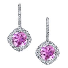 Omi Prive: Pink Sapphire and Diamond Earrings