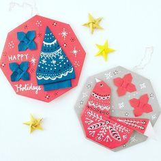 クリスマスオーナメントのボールを作りたかったのに、、絵馬みたいになった、、。 Are these christmas ornament or ema? #origami  #illustration  #ornament #ema #papercraft  #bird #tree #christmasornaments  #nanatakahashi  #おりがみ #イラスト #オーナメント #絵馬 #とり #ツリー #クリスマスツリー  #たかはしなな